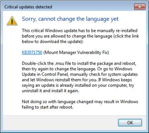 Windows 7 - Vistalizator - Critical updates detected