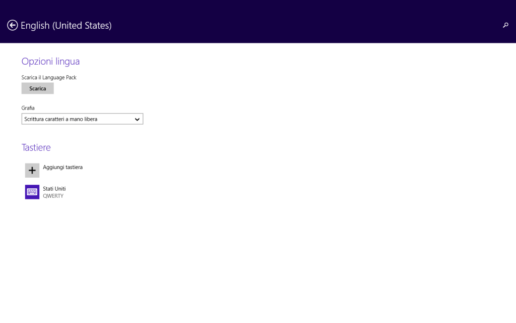 Windows 8.1 - Info PC - Opzioni lingua