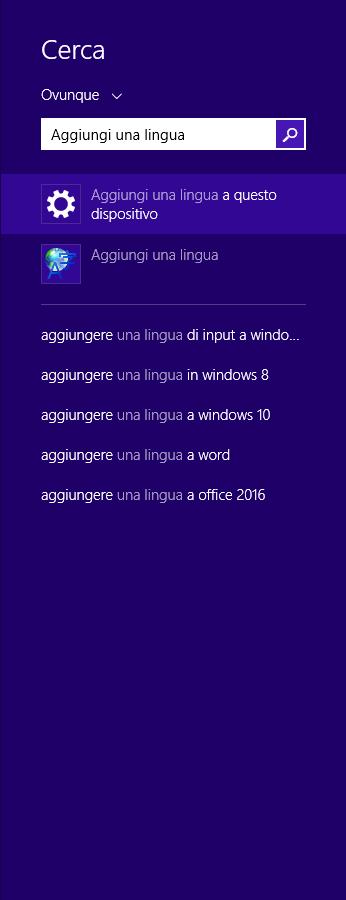 Windows 8.1 - Ricerca aggiungi una lingua