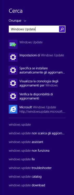 Windows 8.1 - Ricerca Windows Update