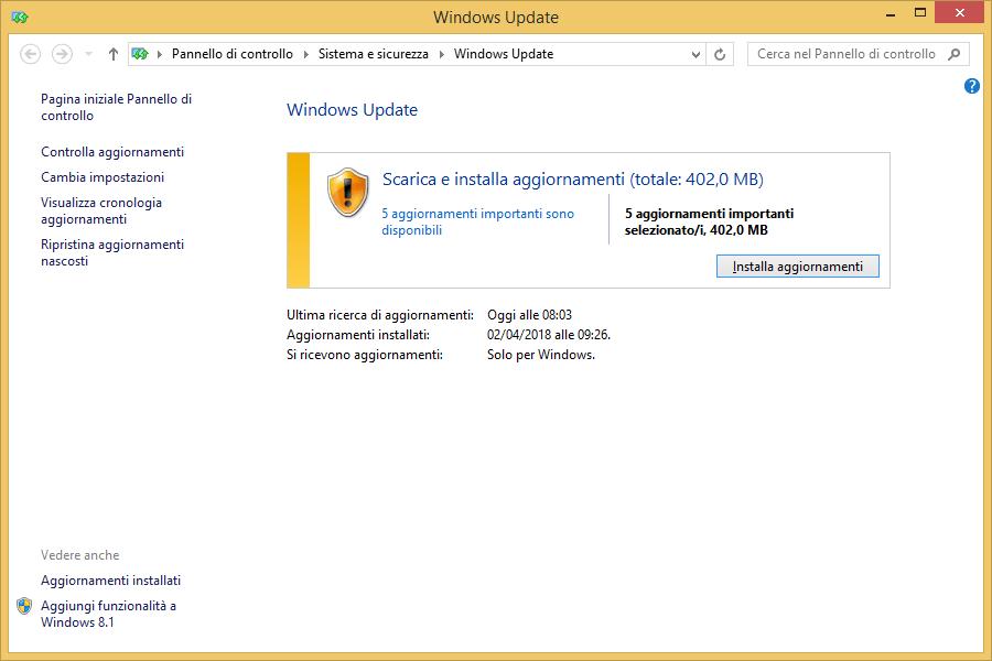 Windows 8.1 - Windows Update Trovati aggiornamenti