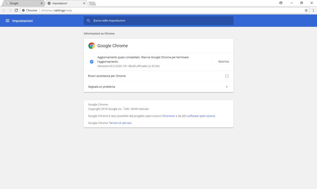 Chrome - Aggiornamento effettuato - Riavvio