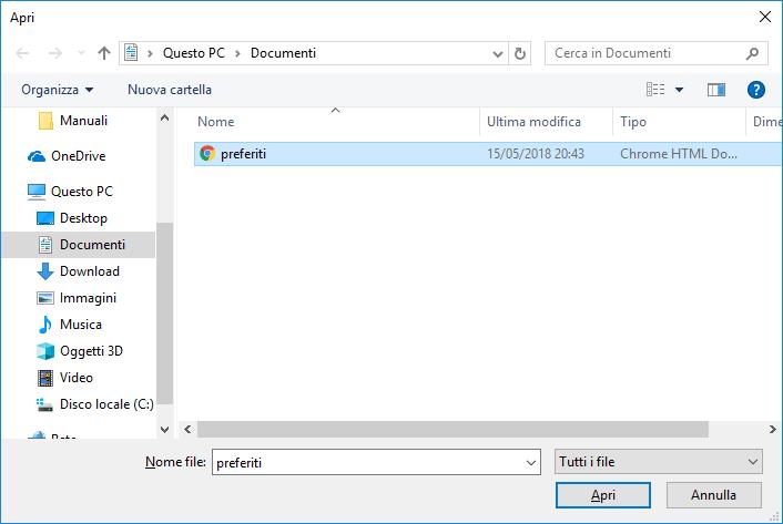 Edge - Importa preferiti - Scelta file