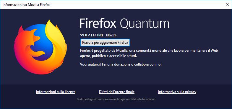 Firefox - Richiesta riavvio per aggiornamento