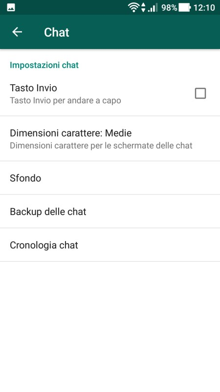 WhatsApp - Menù Chat