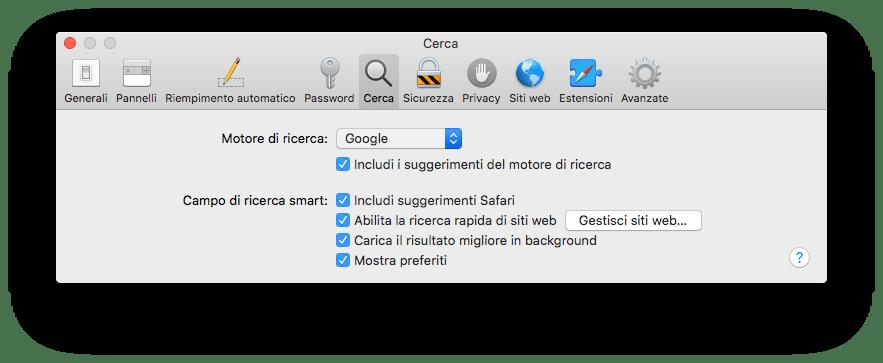 macOS - Safari - Preferenze - Cerca