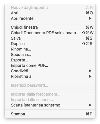 macOS - Apple - Anteprima - Menù File