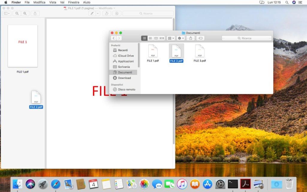 macOS - Apple - Anteprima - Trascinamento File