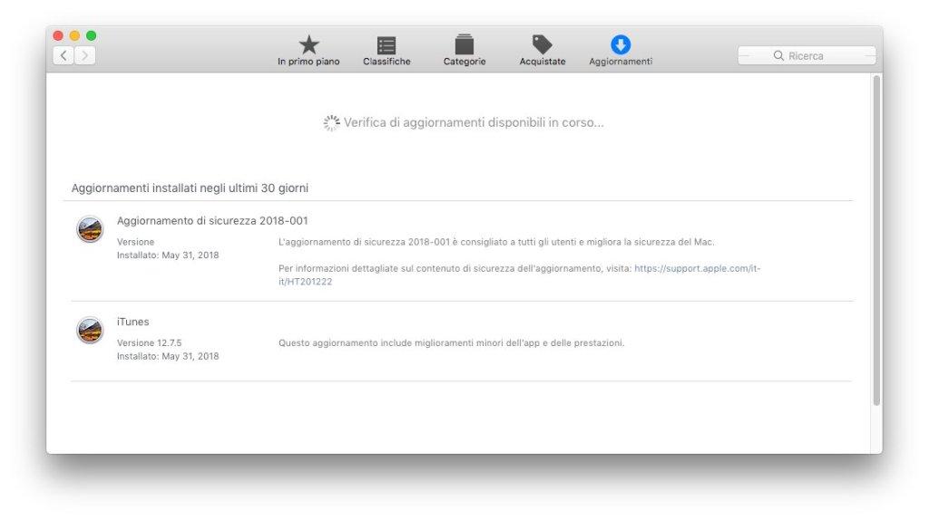 macOS - Apple - App Store - Ricerca aggiornamenti
