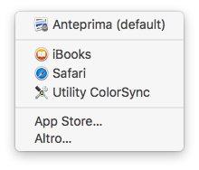 macOS - Apple - Menù File PDF Apri Con