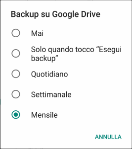 WhatsApp - Android - Frequenza Backup su Google Drive