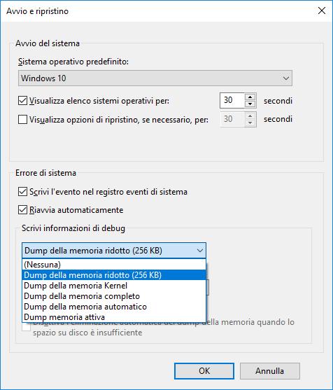 Windows 10 - Proprietà di sistema - Avvio del sistema - Scrivi informazioni di debug - Dump della memoria ridotto