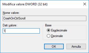 Windows 10 - RegEdit - kbdhid - CrashOnCtrlScroll - Impostare Valore
