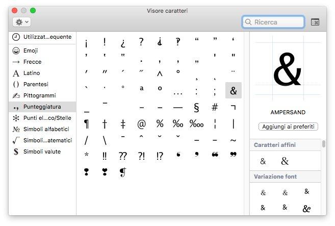 inserire caratteri speciali da tastiera mac