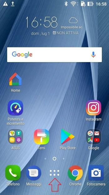 Google Android - Pulsante App - Freccia