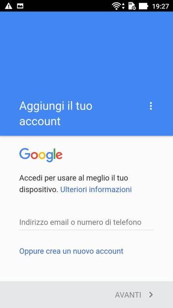 Google - Play Store - Aggiungi il tuo account