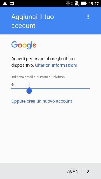Google - Play Store - Aggiungi il tuo account - Email