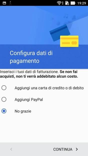 Google - Play Store - Aggiungi il tuo account - Pagamento