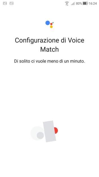 Google Home - Configurazione Voice Match in corso