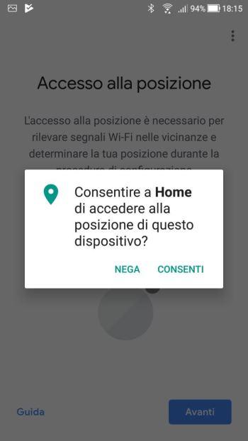 Google Home - Consenso Accesso Posizione Home