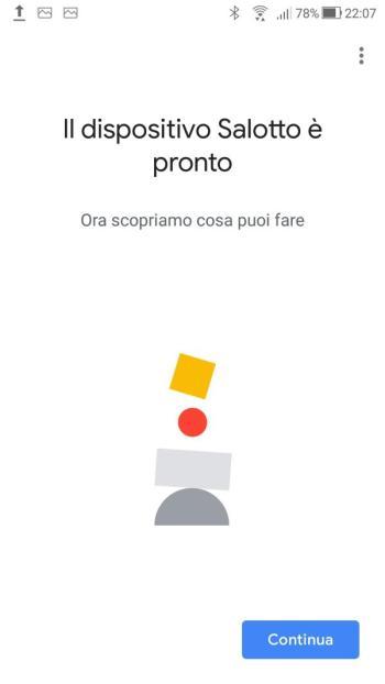 Google Home - Il dispositivo Salotto è pronto