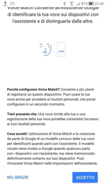 Google Home - Informativa Voice Match Fine