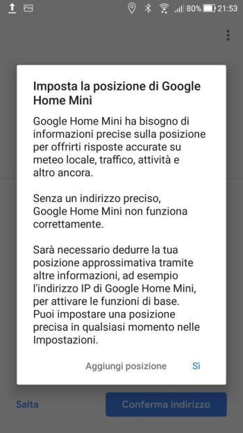 Google Home - Imposta la posizione di Google Home Mini