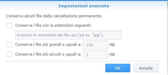 Synology - DiskStation Manager - Maschera Crea Attività - Impostazioni Avanzate