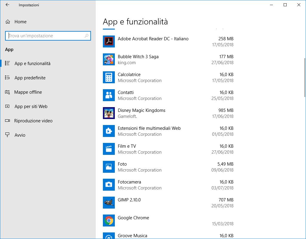 Windows 10 - App e funzionalità - App disinstallata