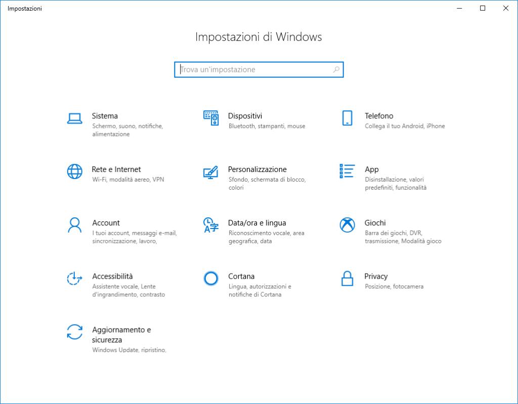 Windows 10 - Impostazioni v1803