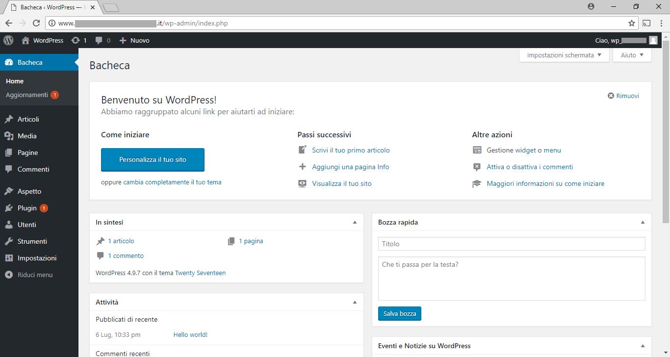 WordPress - Admin - Nuovo sito