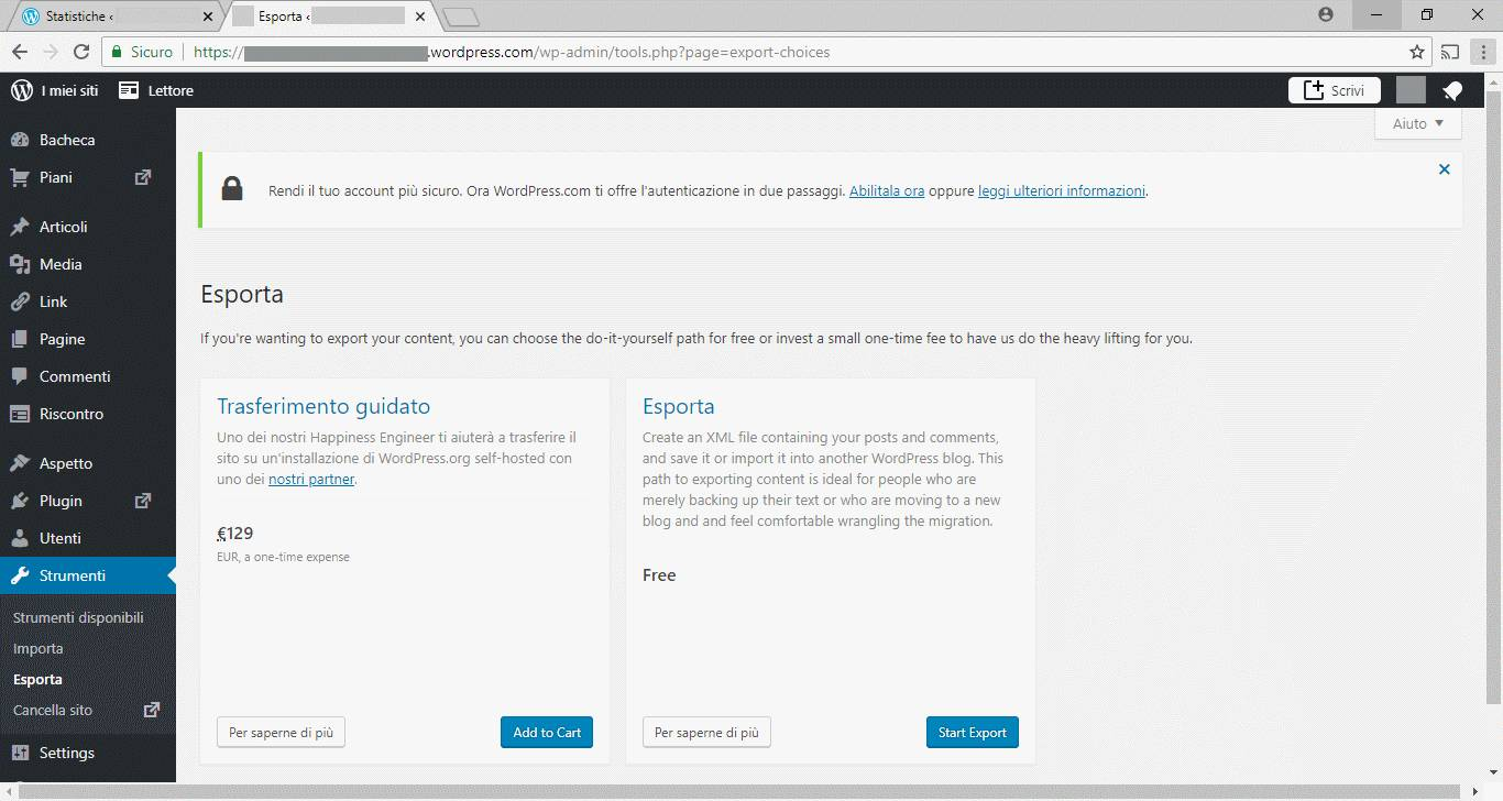 WordPress - Admin - Esporta