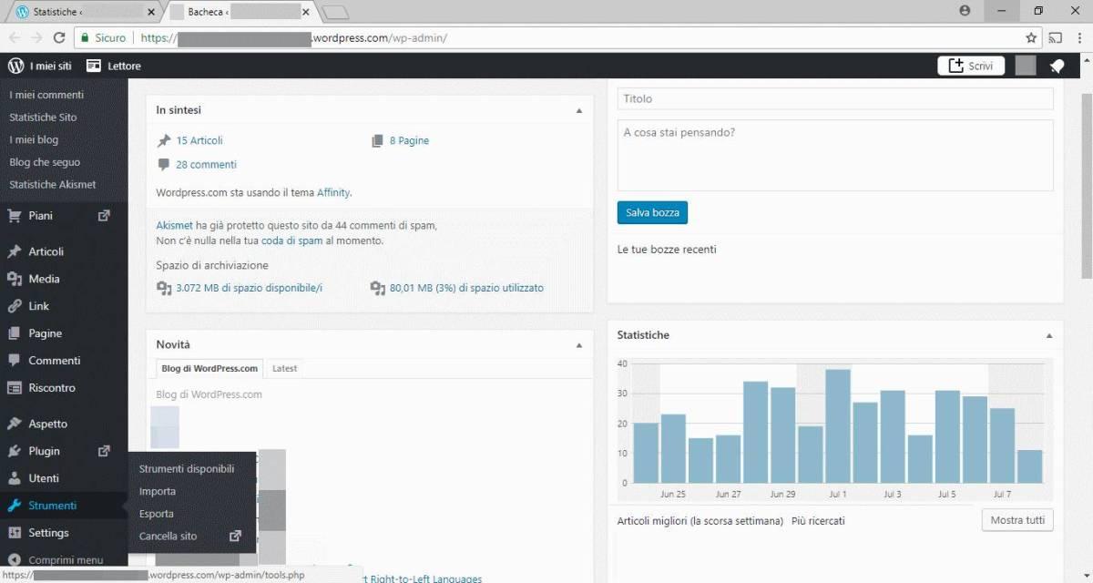 WordPress - Admin - Strumenti