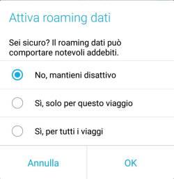 Android Oreo - Attiva Roaming Dati
