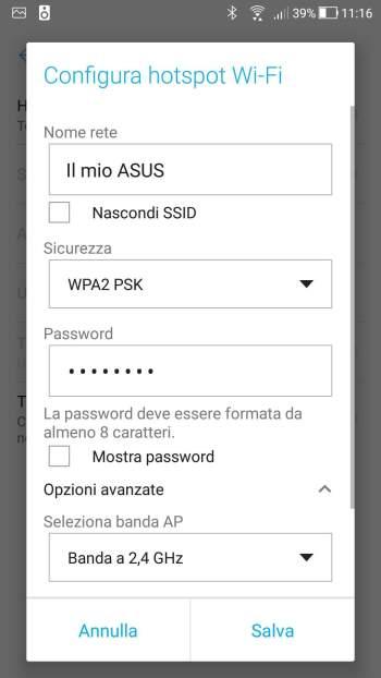 Android Oreo - Configura hotspot Wi-Fi