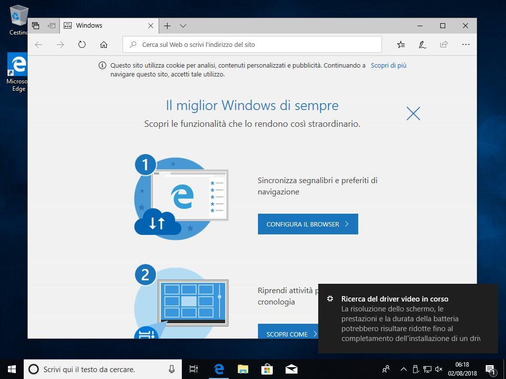 Windows 10 - v1803 - Installazione Conclusa