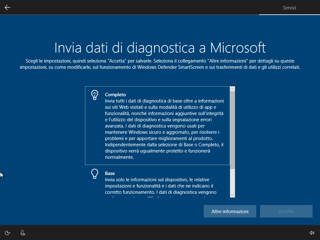Windows 10 - v1803 - Installazione - Invia dati diagnostica Microsoft