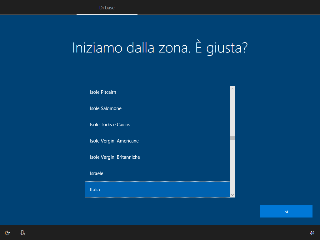 Windows 10 - v1803 - Installazione - Configurazione Zona