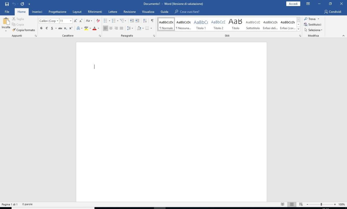 Microsoft Word 2016 - Documento vuoto