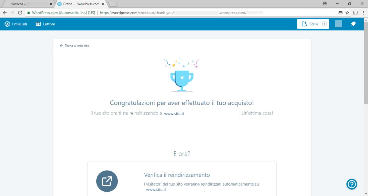 WordPress - Redirect - Congratulazioni