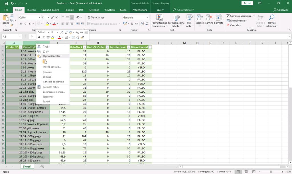 Microsoft Excel 2016 - Colonne nascoste selezionate - Menù contestuale