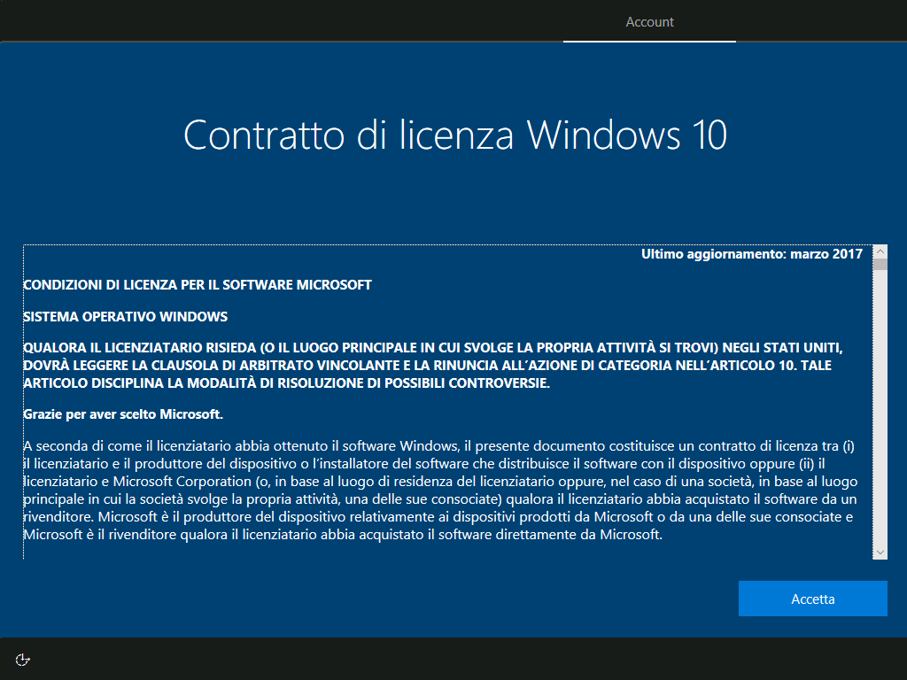 Windows 10 v1803- Ripristino PC - Rimuovi tutto - Contratto di licenza Windows 10