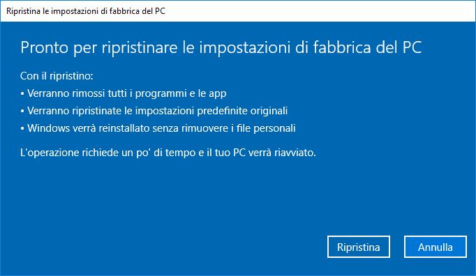 Windows 10 v1803- Ripristino PC - Resoconto con dati personali