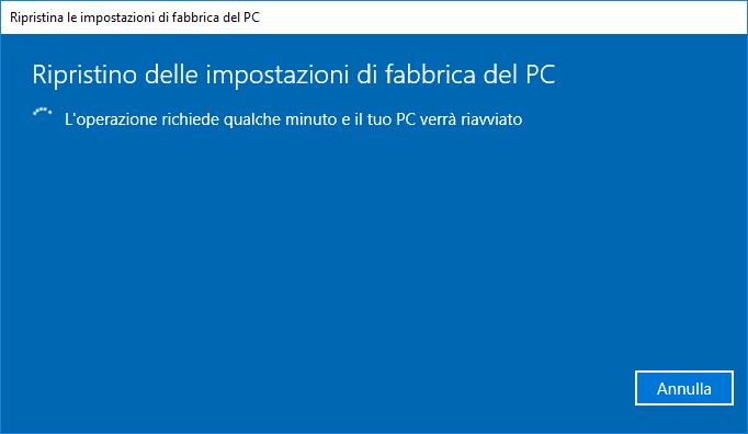 Windows 10 v1803- Ripristino PC - In Corso