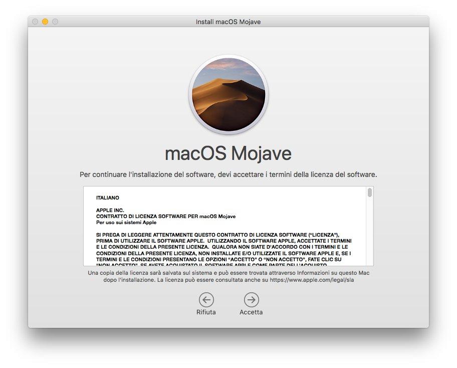 macOS 1013 - Installa Mojave 02 - Termini licenza software