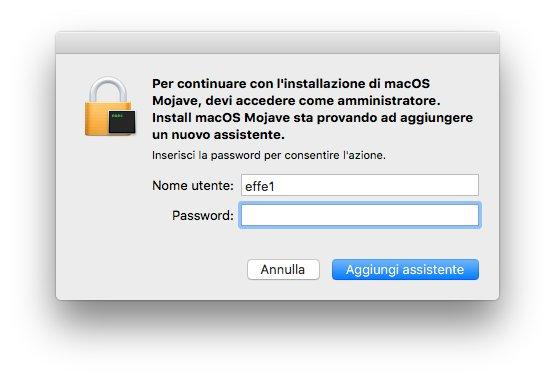 macOS 1013 - Installa Mojave 05 - Assistente