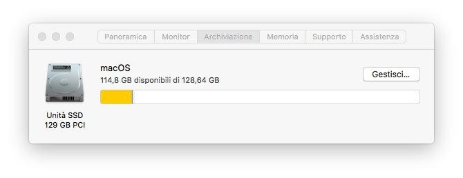 macOS 1013 - Preferenze di sistema - Archiviazione