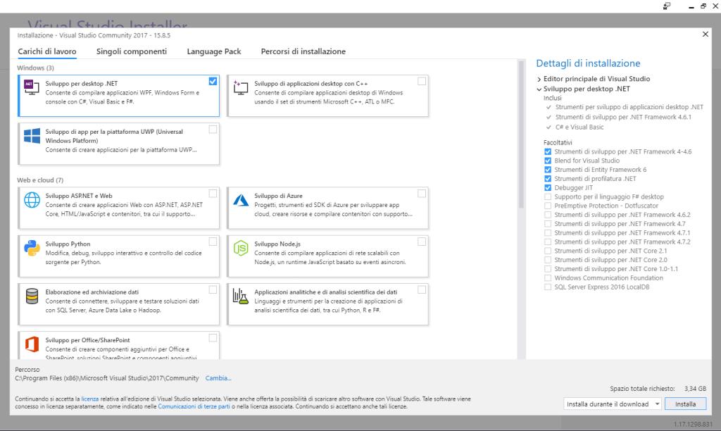 Microsoft Visual Studio 2017 Community Edition - Installazione - Carichi di lavoro - Sviluppo per deskotp .NET