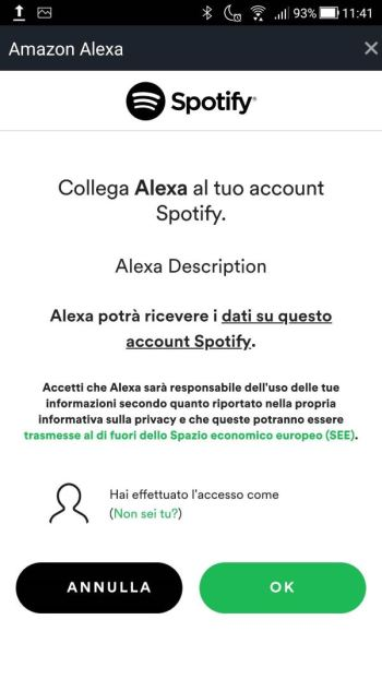 Amazon Alexa - Impostazioni - Musica - Collega Account Spotify