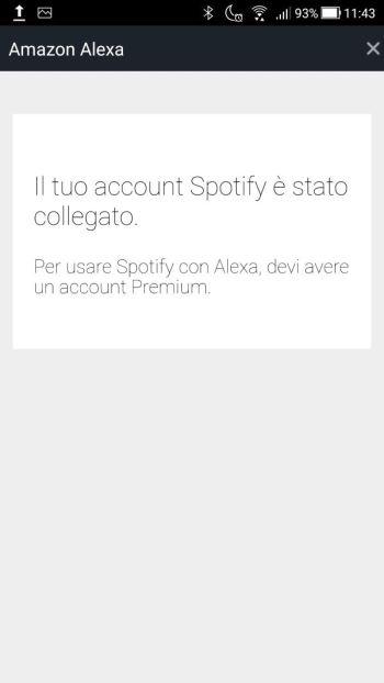 Amazon Alexa - Impostazioni - Musica - Account Spotify collegato